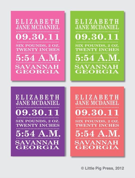 Modern Typography 8 x 10  Birth Announcement Print -- Baby Girl --