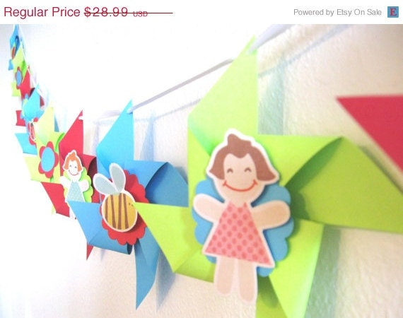 CLEARANCE Pinwheel Garland Banner Perfect for a Birthday Party or Baby Shower or a Pool Party