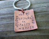 Father's Day Gift For Dad - MY GIRLS - Personalized Gift Custom Copper Keychain with Heart - By Stellasblossoms
