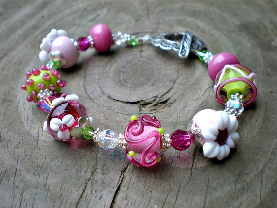 Sale - Cherry Blossoms - Artisan Lampwork and Sterling Silver Bracelet by StellasBlossoms