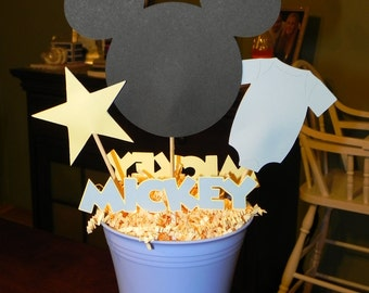 Baby Mickey Mouse Blue and Yellow Centerpiece Birthday Decoration