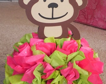 Mod Monkey Pink and Lime Green Centerpiece