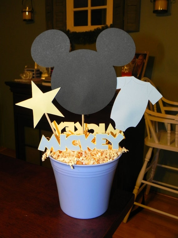 Baby mickey mouse blue and yellow by 3rdgenerationcrafts for Baby mickey decoration ideas