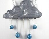 Rain Cloud Necklace, Jewelry, Handmade