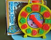 Vintage Amloid Preschool Block Clock Toy Activity Puzzle