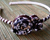 Headband fabric flower rose textile ribbon - All Business Headband