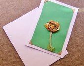 Greeting Card Stationary Handmade Blank Textile Flower Fabric Card Free Shipping Green -1