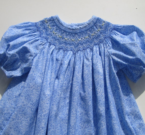12 Month Hand Smocked Baby Toddler Blue Print Dress - Can/US Free Shipping