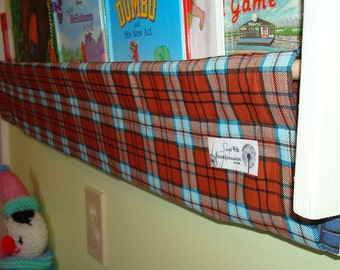 Clearance Book Storage Sling - blue orange plaid reversible - 100% Profits to Compassion International book case