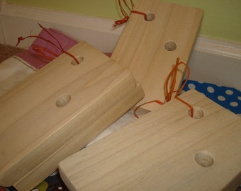 2 Sets of Wooden Wall Brackets for Book Slings -  Set of 4