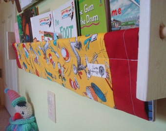 Dr Seuss book storage sling - yellow shelf - gender neutral nursery decor