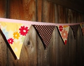 Brown-White Dots with Multi-Color Flowers Fabric Pennant Baner