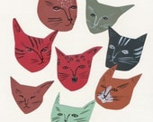Cat faces illustration print