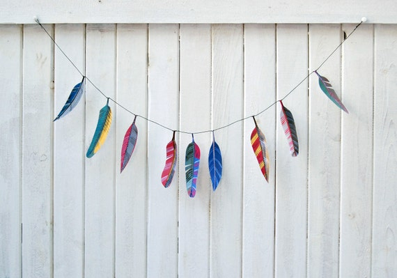Illustrated paper feather garland