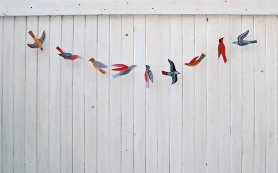Illustrated bird garland kit
