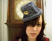 The Time is Now ... blue wool felt fascinator mini top hat