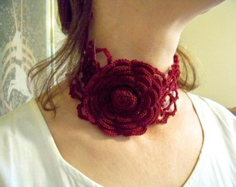 Only Time Can Heal a Broken Heart ... wine colored choker with rose centerpiece