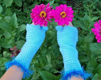 A Time to Reap ... blue fingerless gloves with fuzzy cuff