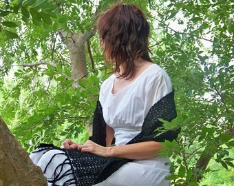 Take Your Time ... hand crocheted stole in black cotton
