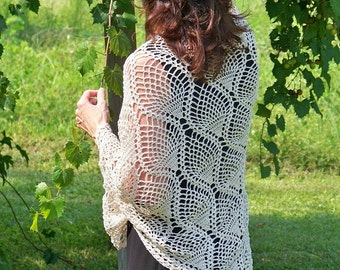 As Time Goes By ... hand crocheted natural cotton pineapple shawl