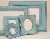 "RESERVED for ""L"" Shabby Chic Picture Frames Frame Set French Blue Ornate Cottage Frames"
