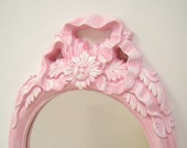 Shabby Chic Wall Mirror Ornate Frame Pink Mirror Wall Decor Victorian Style