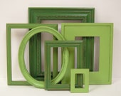 Picture Frames Shabby Chic Picture Frame Set Spring Green Frames Modern Cottage Wall Decor