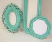 Shabby Chic Mirrors Cottage Ornate Frames Turquoise Aqua Blue Wall Mirror Decor