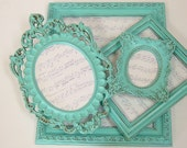 Shabby Chic Picture Frames Set Picture Frames Aqua Turquoise Ornate Frames Beach Wedding Decor
