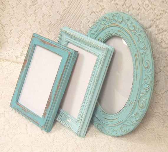 Shabby Chic Picture Frames With Glass Aqua Turquoise Robins Egg Blue Beach Cottage Ornate