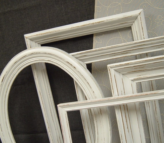 White Shabby Chic Frames Picture Frame Set Frames Distressed Gallery LG Frames