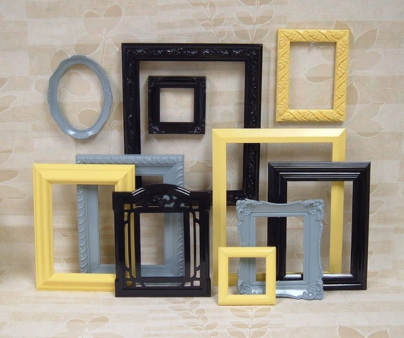 Yellow Black And Gray Wall Decor : Picture frames black frame set yellow gray grey home