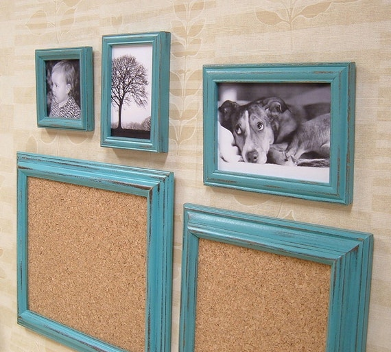 Shabby Chic Picture Frames Aqua Turquoise Frame Set Message Board Home Decor
