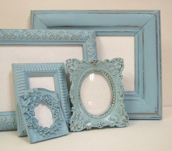 "RESERVED for ""L"" Shabby Chic Picture Frames Frame Set French Blue Ornate Cottage Frames"