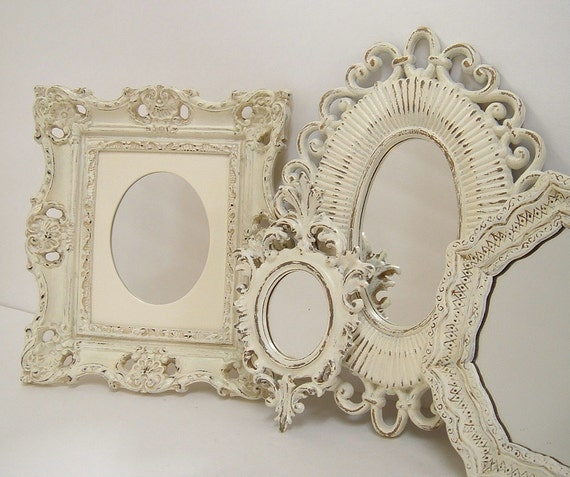 Shabby Chic Wall Mirrors Cottage Ornate Frames Ivory Heirloom White For Home Decor