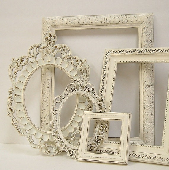 Picture frames shabby chic picture frame set ornate frames - Antique white picture frames ...