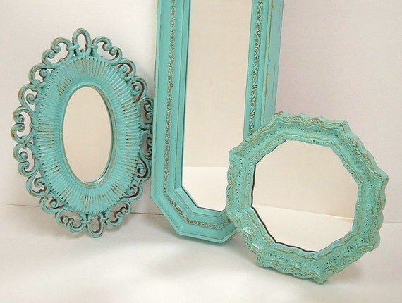 Shabby Chic Wall Mirrors Cottage Ornate Frames Turquoise Aqua Blue Wall Decor