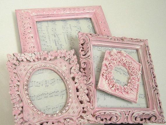 Shabby Chic Frames Pink Frame Set Ornate Frame Wedding Home Decor