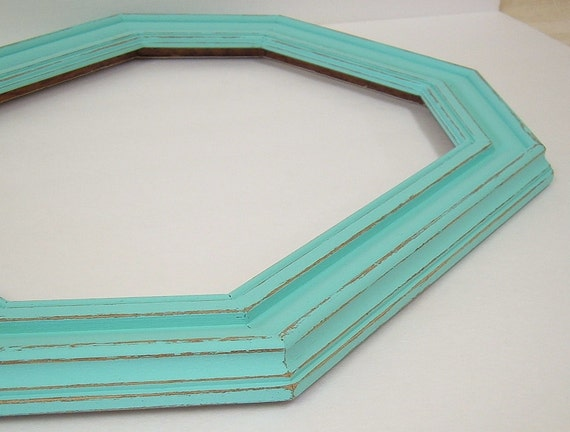 Picture Frame Shabby Chic Frame Turquoise Aqua Large Wood Frame 11x14 Cottage Chic