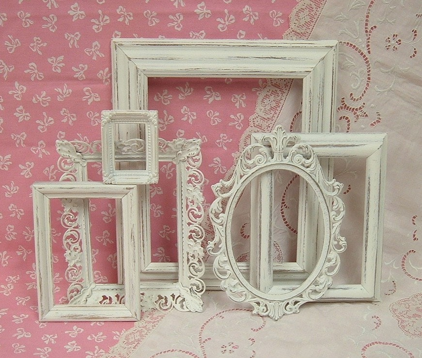 shabby chic picture frames white ornate by. Black Bedroom Furniture Sets. Home Design Ideas