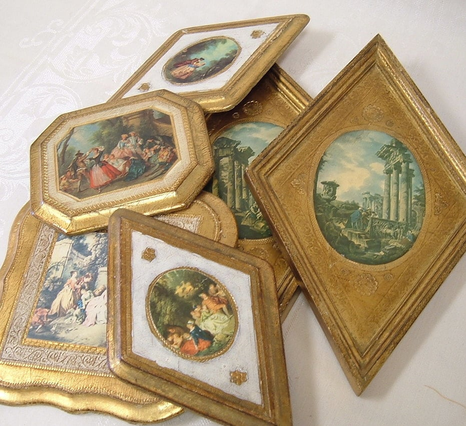 Vintage Made In Italy Wall Plaques Gilt Gold Italian Art