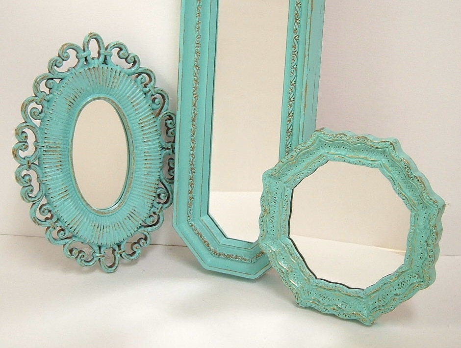 Shabby Chic Wall Mirrors Cottage Ornate Frames Turquoise Aqua
