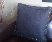 Charcoal Gray Pillow with Rivets, Industrial Wool Felt Pillow 20x20