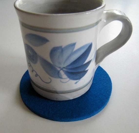Blue Coaster Set, Drink Coasters, Felt Coasters, Fabric Coasters, Table Coasters