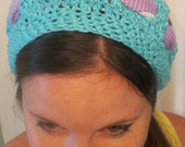 Vibrant turquoise crocheted slouchy hat