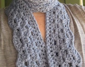 ORGANIC COTTON Scalloped Scarf in Pale Blue