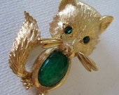 Vintage Monet Fox Brooch with Green Rhinestone Eyes