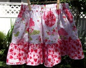 Little Sister's Tea Party Twirll Skirt....Made with Michael Miller Fabric...Strawberry Tea Party...By Too Chute