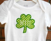 Girls or Boys Green Check Shamrock Shirt St Patricks Day Shamrock Bodysuit, St Patrick's Day T-shirt,