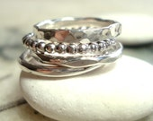 sterling silver stacking ring set of four custom made textured silver stackable rings